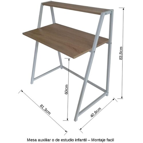 SALDO - Mesa auxiliar - infantil estructura metalica y madera color cambria 83x81x40
